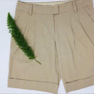 DKNY Stylish Tan Linen Cuffed High Rise Short Sz 8